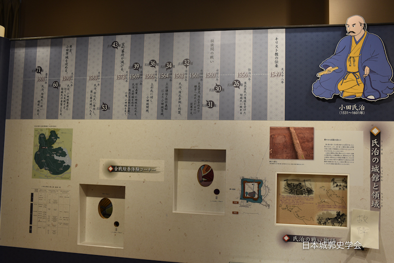 小田城跡歴史ひろば案内所内のパネル展示